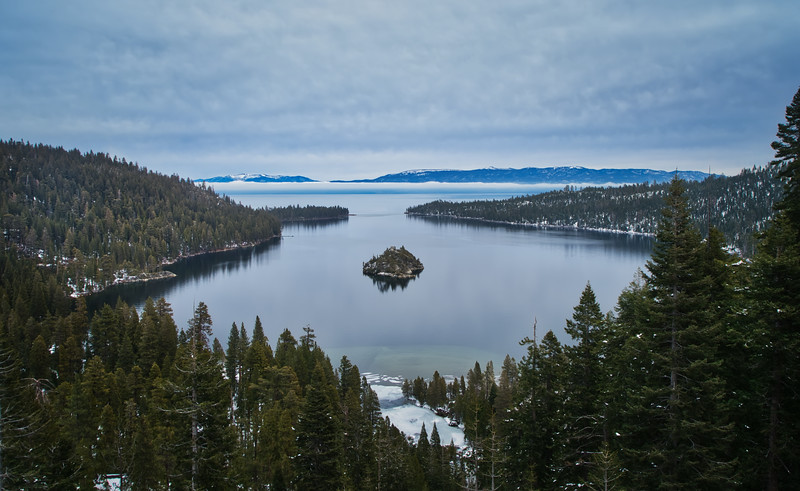 A foggy Tahoe afternoon above Emerald Bay