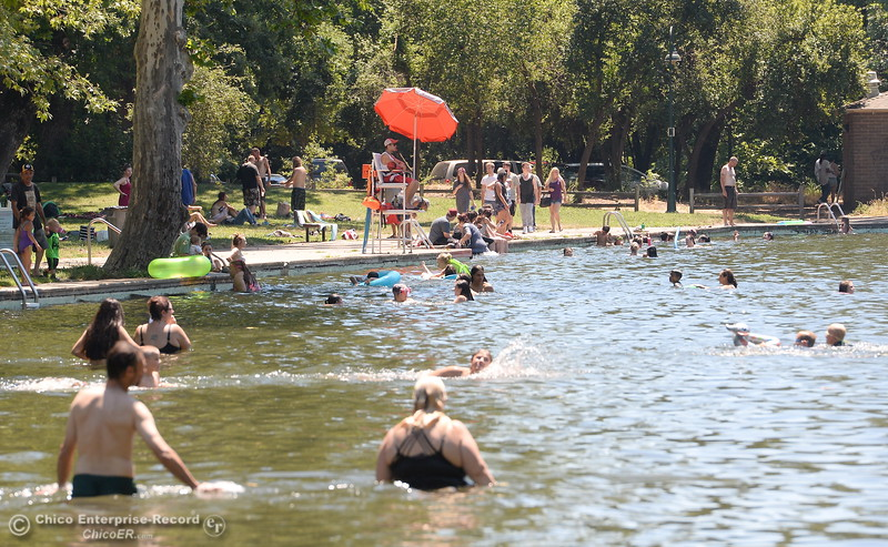 People flock to the water as they cool off in Sycamore Pool at the One Mile Recreation Area in Bidwell Park Tuesday June 20, 2017. (Bill Husa -- Enterprise-Record)