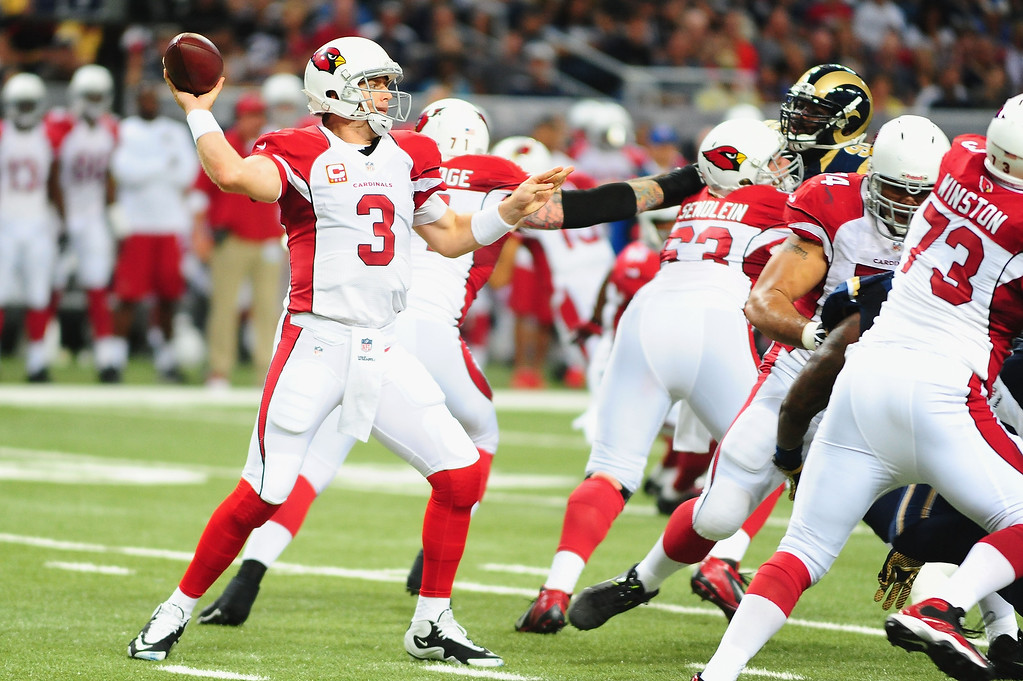 . Quarterback Carson Palmer #3 of the Arizona Cardinals throws against the St. Louis Rams at the Edward Jones Dome on September 8, 2013 in St. Louis, Missouri.  (Photo by Michael Thomas/Getty Images)
