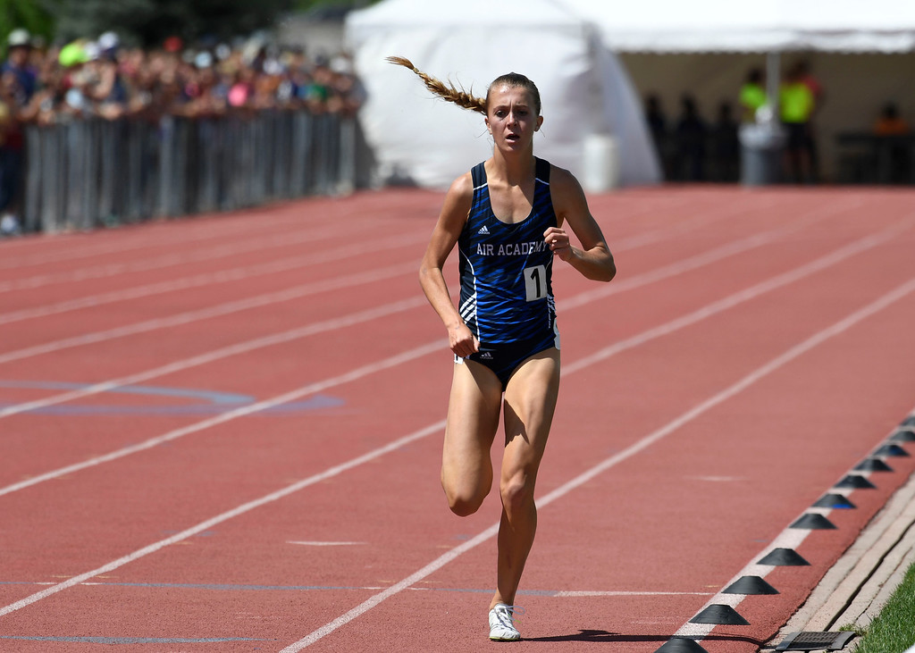 . Katie Rainsberger, Air Academy, all alone coming up to the finish line in the girls 4A 1600 meter run at the Colorado Track and Field State Championships at Jeffco Stadium May 21, 2016. Rainsberger won the event with a time of 4:45. 27 setting a new meet record. (Photo by Andy Cross/The Denver Post)