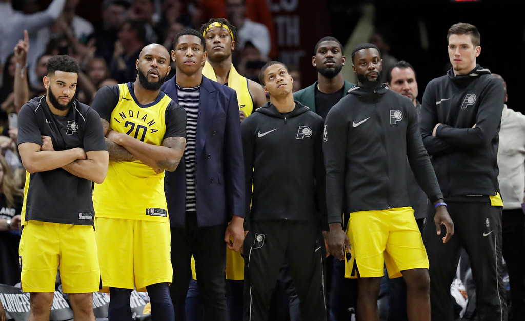 . The Indiana Pacers bench watches late in the second half of Game 7 of an NBA basketball first-round playoff series against the Cleveland Cavaliers, Sunday, April 29, 2018, in Cleveland. The Cavaliers won 105-101. (AP Photo/Tony Dejak)