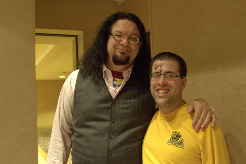 Me with Penn Jillette. Happy about my signed forehead!