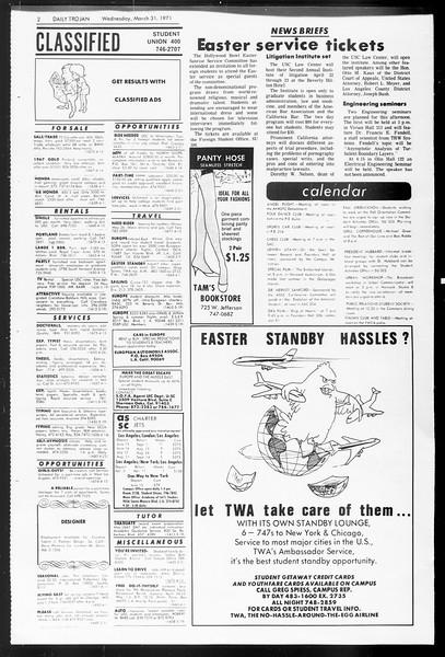 Daily Trojan, Vol. 62, No. 100, March 31, 1971