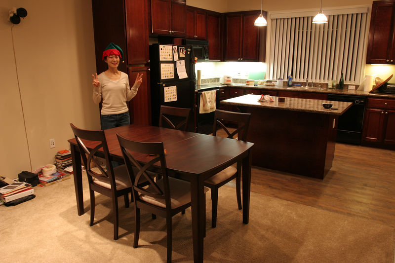 This is our cool little dining table that can be adjusted to accommodate 4-6 people (8 if you squish).
