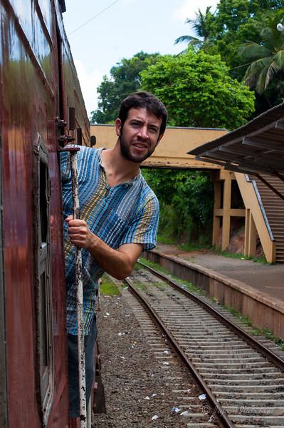 Stephen riding train in Sri Lanka