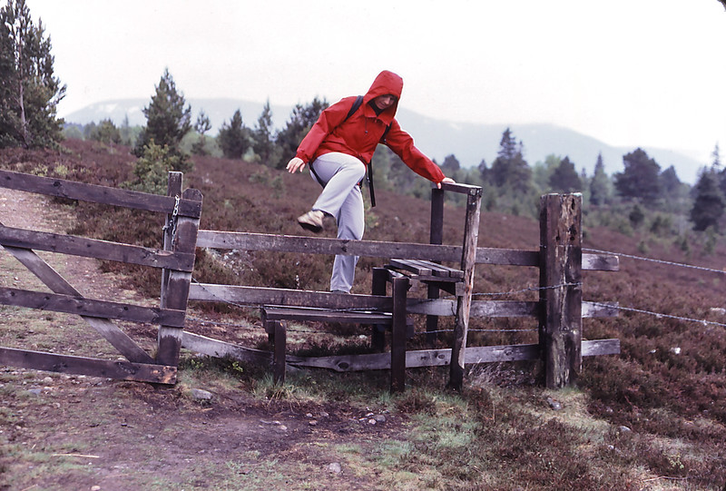 Crossing a fence when hiking in Scotland, 1984