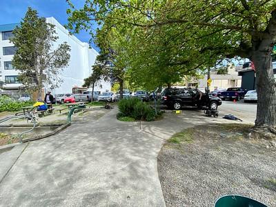 Pressure washing Lynn Street End Park, May 2020