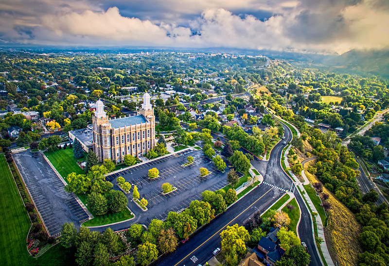 LDS Logan Temple in October - Aerial