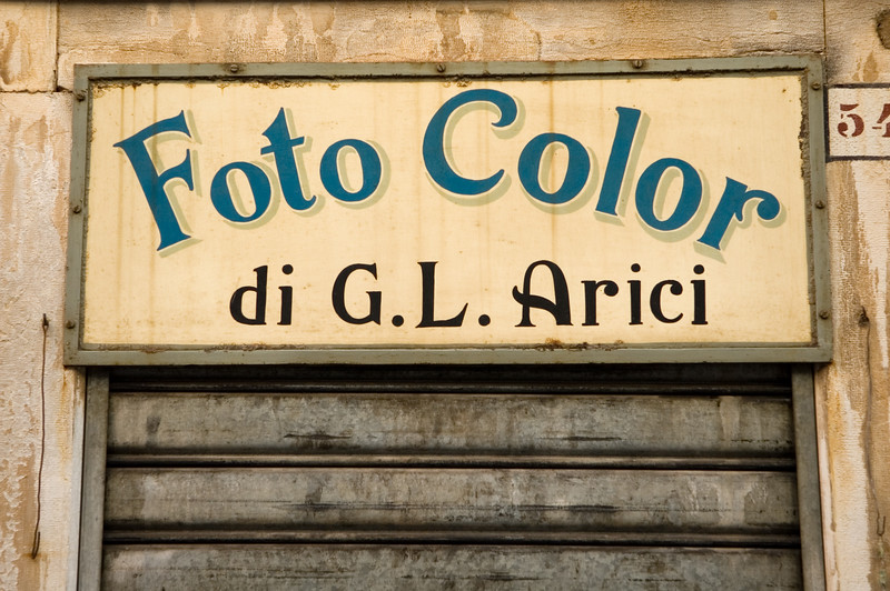 Sign of and old photography shop, Venice, Italy