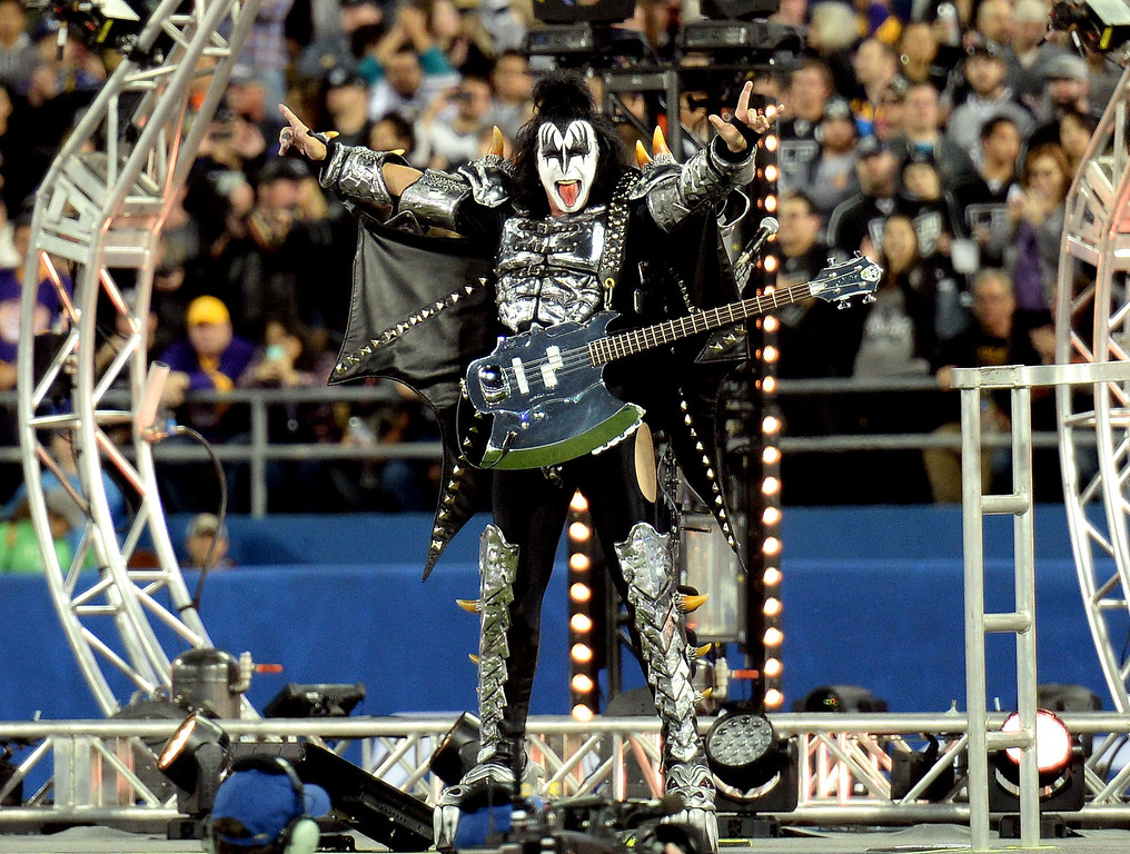 . Gene Simmons of KISS performs prior to the inaugural NHL Stadium Series game between the Anaheim Ducks and the Los Angeles Kings at Dodger Stadium in Los Angeles on Saturday, Jan. 25, 2014. (Keith Birmingham Pasadena Star-News)