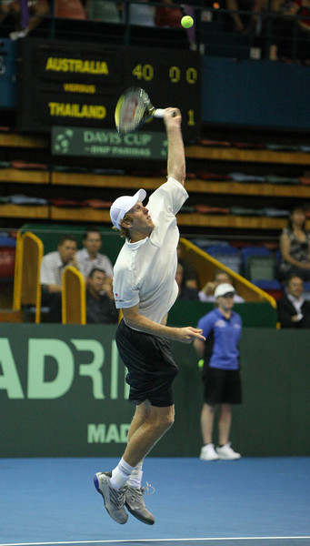 11 April 2008 Townsville, Qld, Australia - Australia's Chris Guccione and Thailand's Danai Udomchoke met in the first singles rubber at their Davis Cup in Townsville - Photo: Cameron Laird (Ph: 0418 238811)