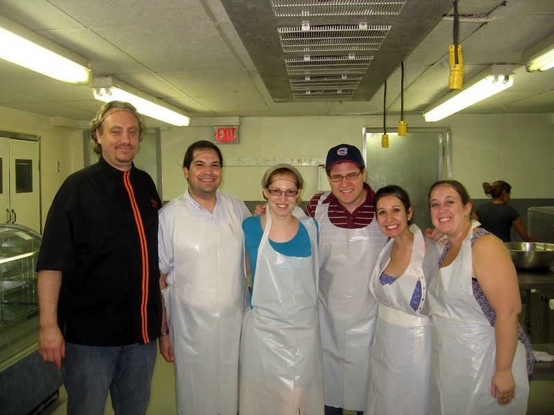 Chef Poulain with Craig (l), Laura, Rob, Alyssa, and Katie