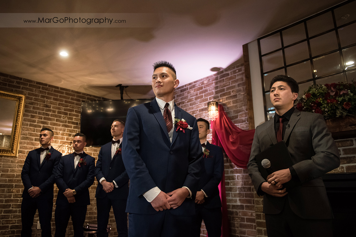 groom waiting for the bride during wedding ceremony at Sunol's Casa Bella