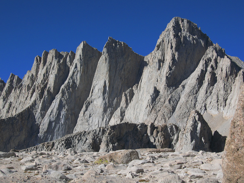 excellent view of Mt. Whitney - you can see the chute of the Mountaineer's Route