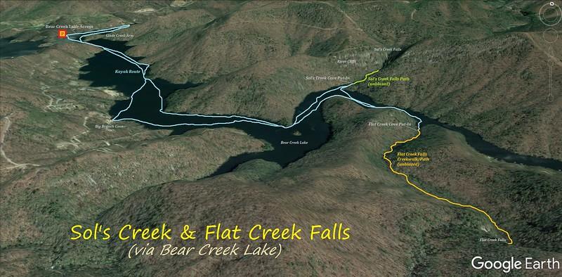 Bear Creek Lake Waterfall Trip Route Map