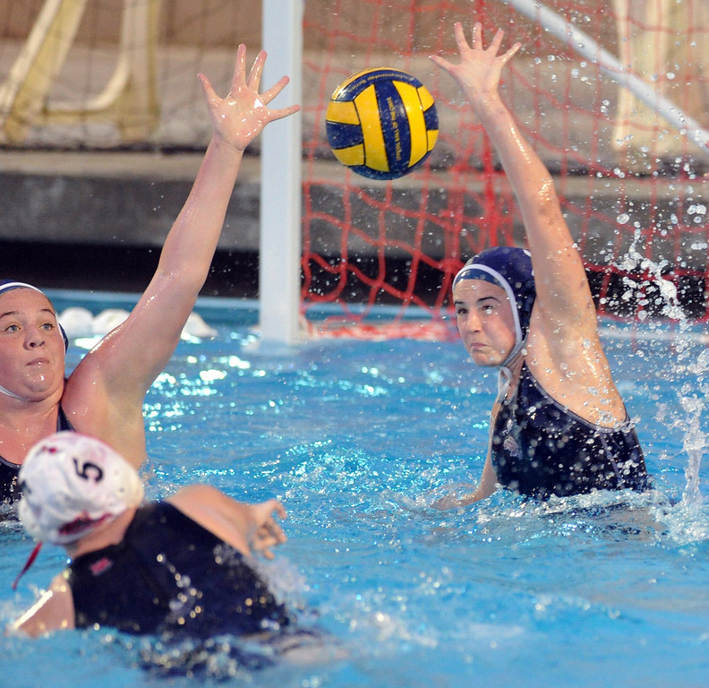 . Crescenta Valley plays Redlands East Valley in the Southern Section Div. V semifinals girls water polo game at Whittier College\'s Lillian Slade Aquatics Center on Wednesday February 20, 2013. Crescenta Valley beat Redlands East Valley 14-4. (Staff photo by Keith Durflinger)