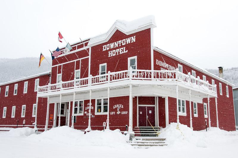 Downtown Hotel during winter in Dawson City, Yukon