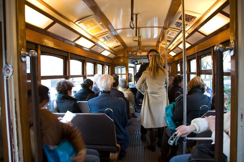 People traveling in a tram, Lisbon