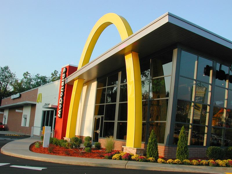 ....Wow what a place. Fast food with an atmosphere. The golden arches are just beautiful in combination with all that glass.         Click on any image to enlarge.