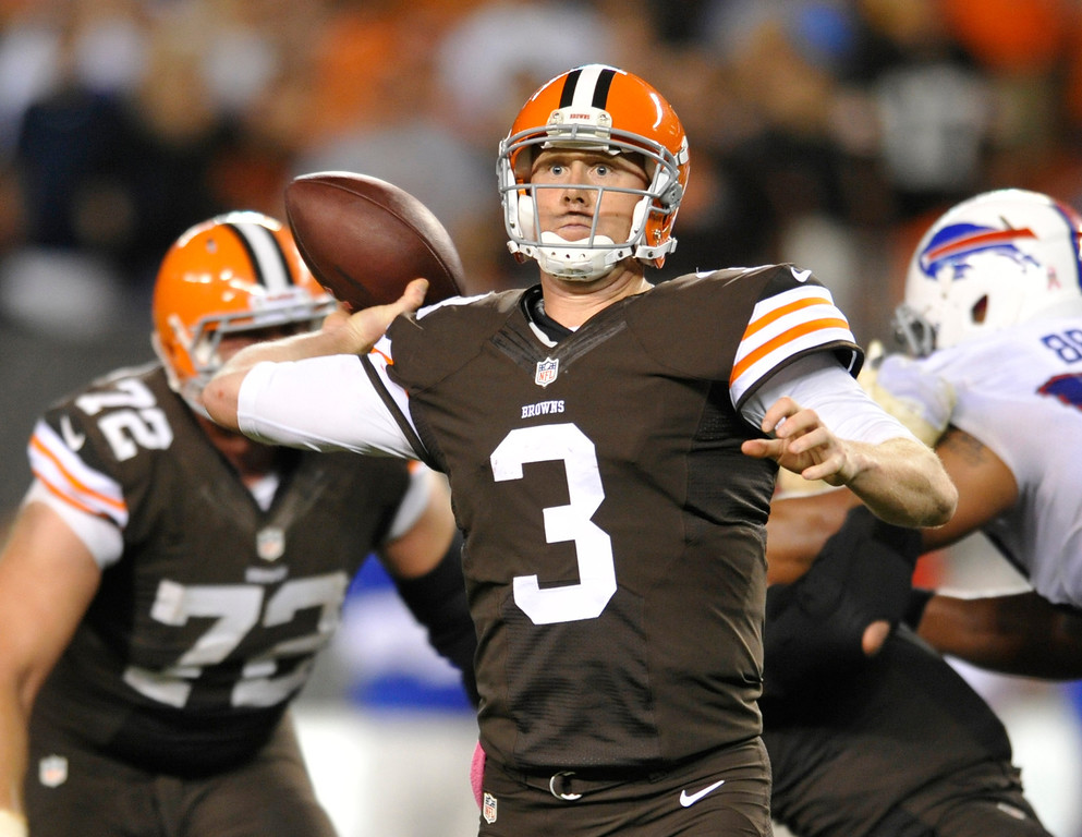 . Cleveland Browns quarterback Brandon Weeden passes against the Buffalo Bills in the fourth quarter of an NFL football game Thursday, Oct. 3, 2013, in Cleveland. Weeden took over for starter Brian Hoyer who was injured in the first quarter. (AP Photo/David Richard)