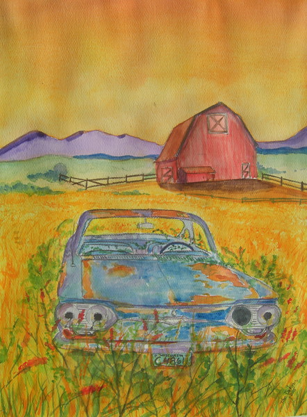Out to Pasture - Abandoned Corvair. 9x12, graphite & watercolor, april. 12, 2015.