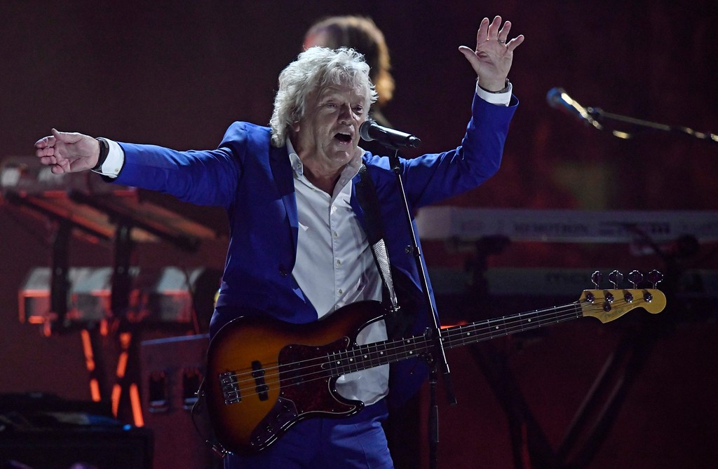 . John Lodge of the Moody Blues performs during the Rock and Roll Hall of Fame induction ceremony, early Sunday, April 15, 2018, in Cleveland. (AP Photo/David Richard)