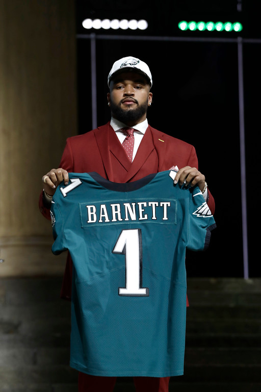 . Tennessee\'s Derek Barnett poses after being selected by the Philadelphia Eagles during the first round of the 2017 NFL football draft, Thursday, April 27, 2017, in Philadelphia. (AP Photo/Matt Rourke)