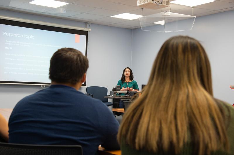 Sara Rodriguez (medium) giving her presentation at the Honors Symposium.
