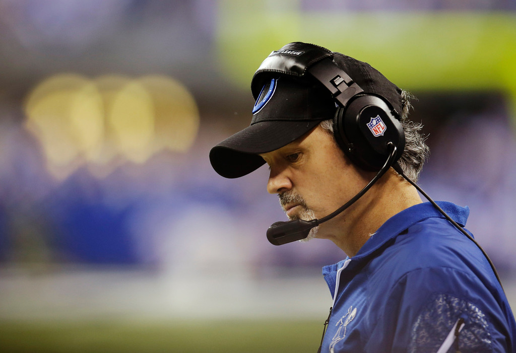 . Indianapolis Colts head coach Chuck Pagano watches during the first half of an NFL wild-card playoff football game against the Kansas City Chiefs Saturday, Jan. 4, 2014, in Indianapolis. (AP Photo/AJ Mast)