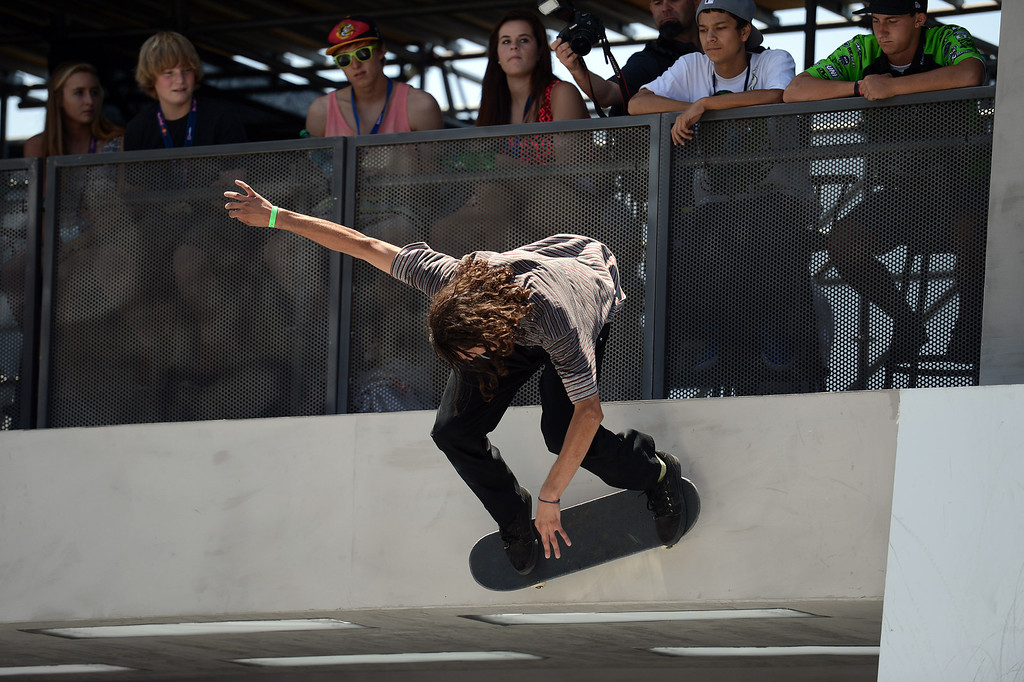 . Evan Smith competes during the  X Games Los Angeles SLS Select Series event at LA Live Thursday, August 1, 2013. (Hans Gutknecht/Los Angeles Daily News)