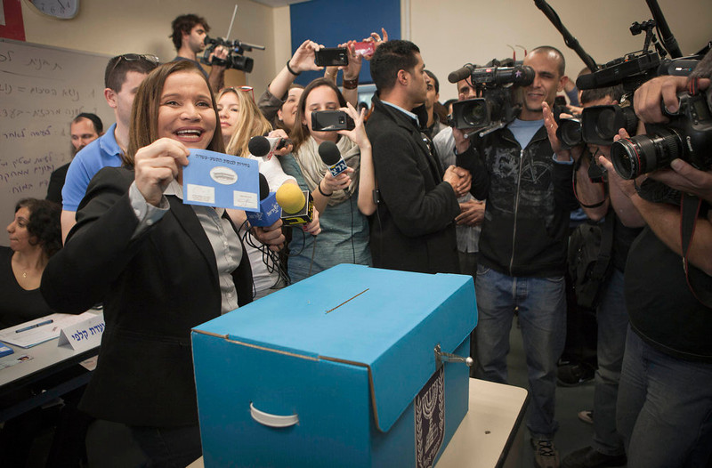 . Israel\'s Labor party leader Shelly Yachimovich votes in Tel Aviv, Israel, during legislative elections, Tuesday, Jan. 22, 2013. Israelis began trickling into polling stations Tuesday morning to cast their votes in a parliamentary election expected to return Prime Minister Benjamin Netanyahu to office despite years of stalled peacemaking with the Palestinians and mounting economic troubles. (AP Photo/Dan Balilty)