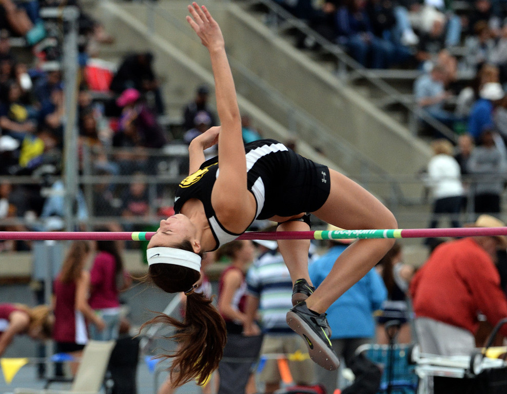 . Peninsula\'s Tammy McVickar in the division 1 high jump during the CIF Southern Section track and final Championships at Cerritos College in Norwalk, Calif., Saturday, May 24, 2014.   (Keith Birmingham/Pasadena Star-News)