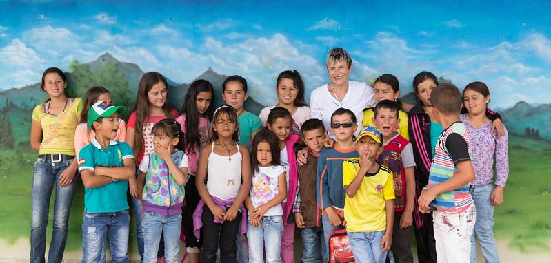 Laura with children at La Esmeralda School, taken by one of the parents.