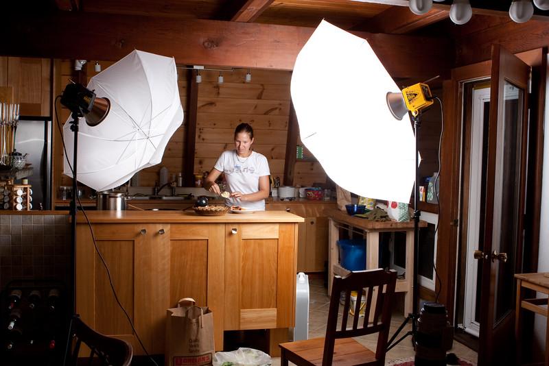 Strobe setup for Blueberry/Peach Crisp photos.  AB800 camera right 1/2 power.  AB800 1/32 power camera left.  Paul C. Buff shoot through umbrellas.