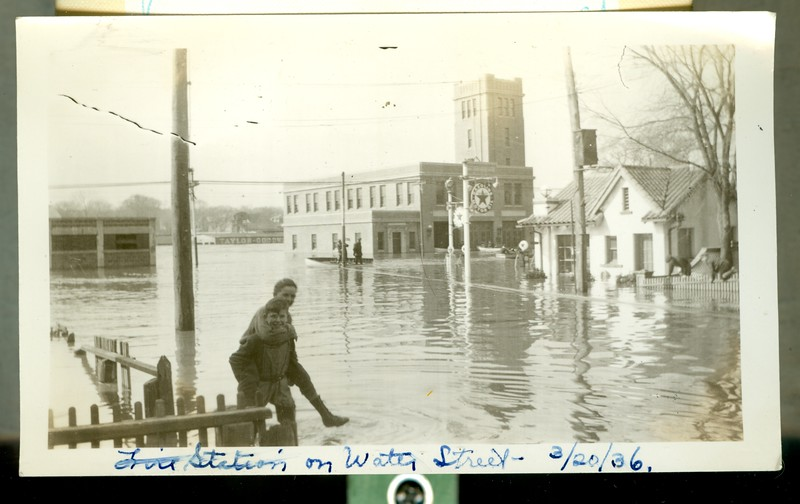 This picture includes the Water Street Fire Station. This was during the 1936 Flood that flooded downtown Haverhill and resulted in the