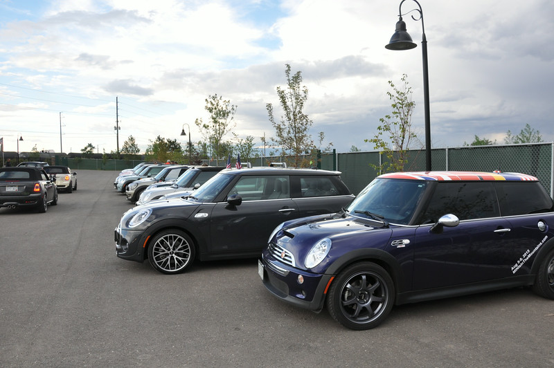 Parked in the pole position at the Grand Junction evening event at Allen Unique Autos (museum). My car (purple) ended up on local TV that night. David's 2014 MINI is next to mine.