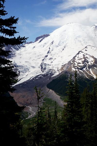 Mount Rainier, Emmons Glacier and White River. Mt. Rainier National Park, Washington.