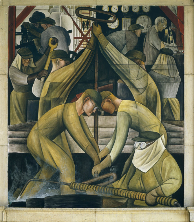 . Detroit Industry, south wall (detail), Diego Rivera, 1932-33, fresco. Detroit Institute of Arts (commercial chemical operations)
