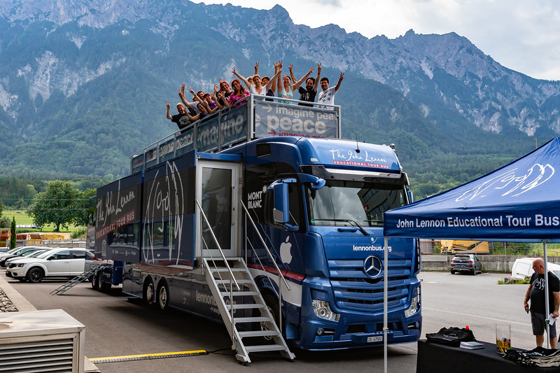 2018_07_10, Bus, Chris O'Flynn, Exterior, Jeff Sobel, LI, Neutrik Tours, Peace Deck, Peace Signs, Schaan, Tents