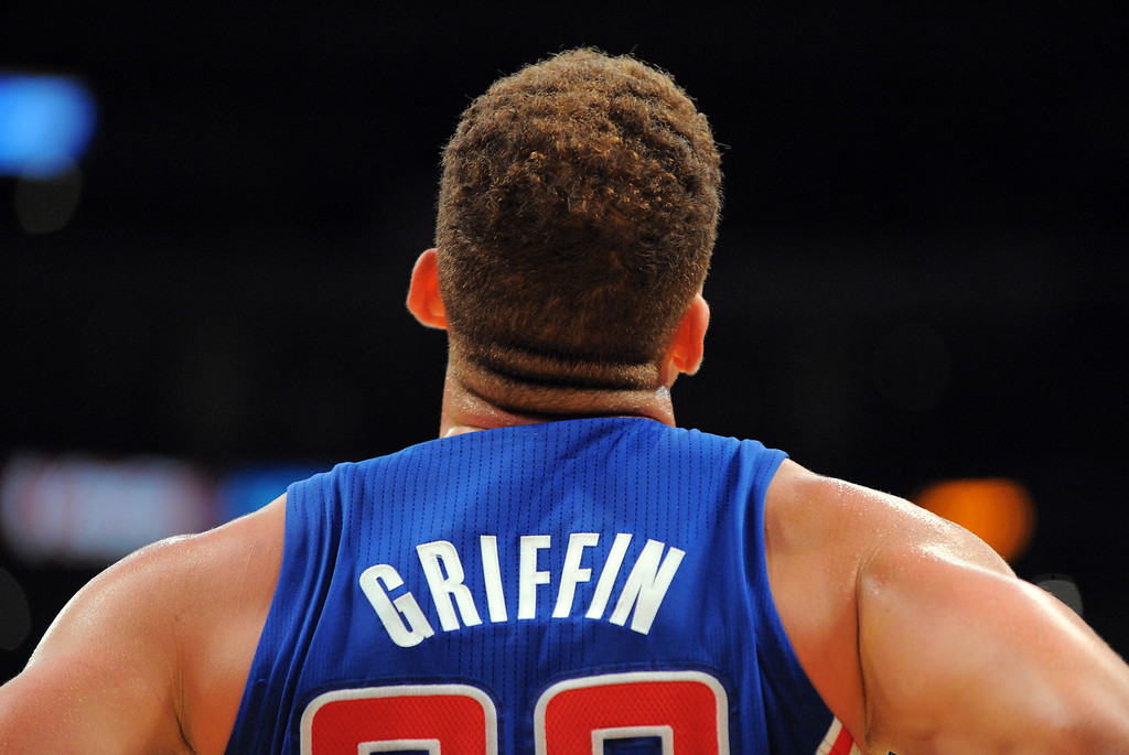 . Blake Griffin checks the scoreboard in the NBA season opener between the Lakers and Clippers at Staples Center in Los Angeles, CA on Tuesday, October 29, 2013.  Lakers won 116-103. (Photo by Scott Varley, Daily Breeze)