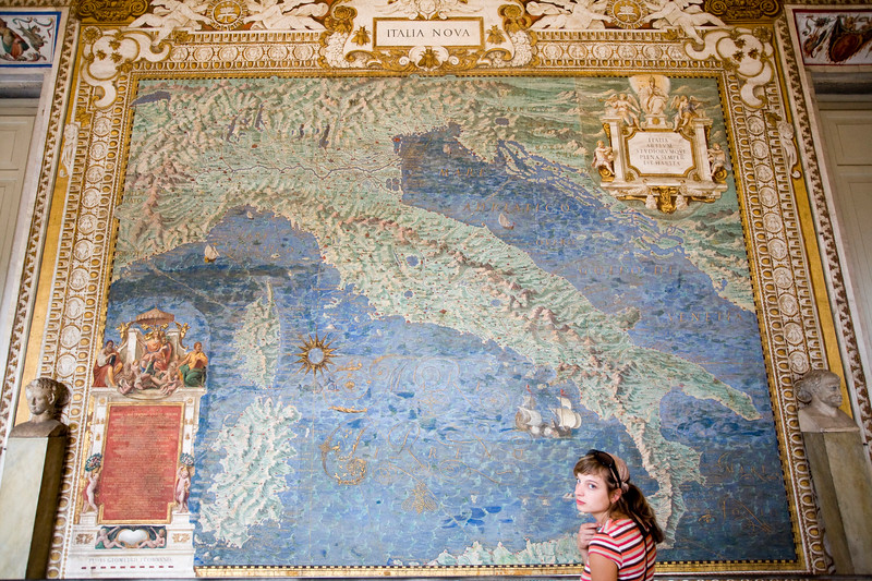 Girl in front of a map of Italy, gallery of the maps, Vatican Museums