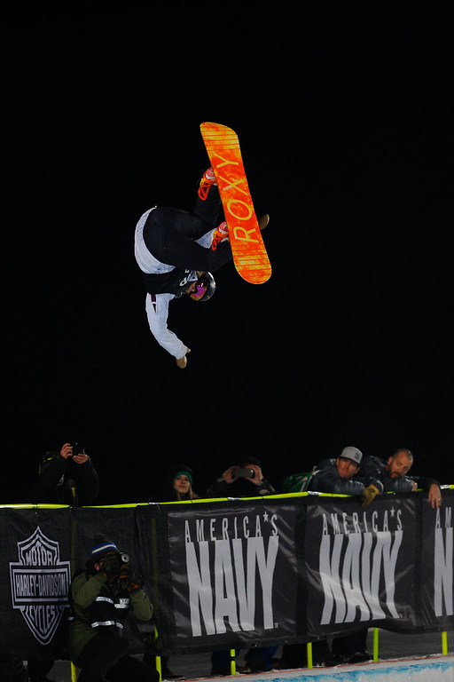 . Torah Bright catches air during her third run and takes the bronze medal in Women\'s Snowboard Superpipe finals, Saturday January 24, Winter X Games 2015 on Buttermilk Mountain.  (Photo By Mahala Gaylord/The Denver Post)