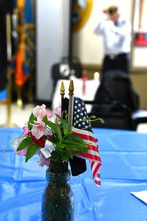 12/7/2019 Mike Orazzi | StaffrChuck Bouffard and Art Ward perform the POW MIA ceremony at the Bristol American Legion Seicheprey Post 2 on Saturday morning for the Pearl Harbor Day ceremony.