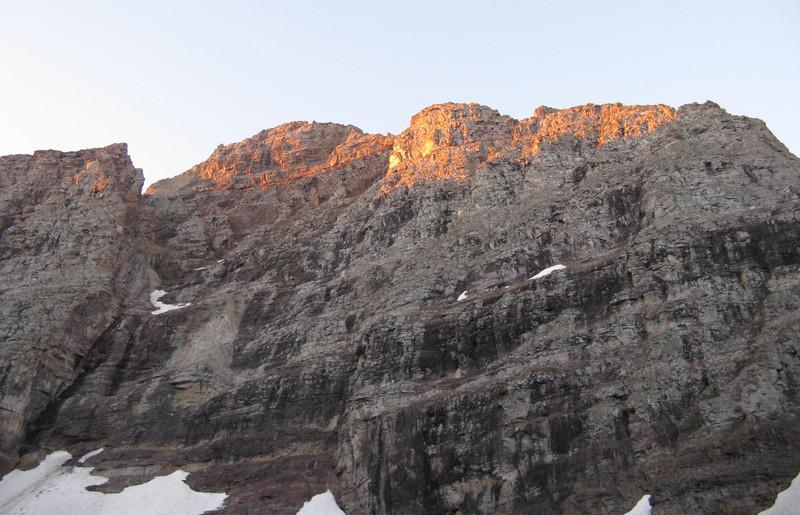 6:40 - Sunrise kissing the summit.