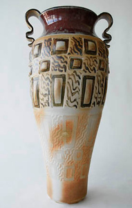 "vase - wood fired, cone 10, size: 23"" x 11"" x 9"""
