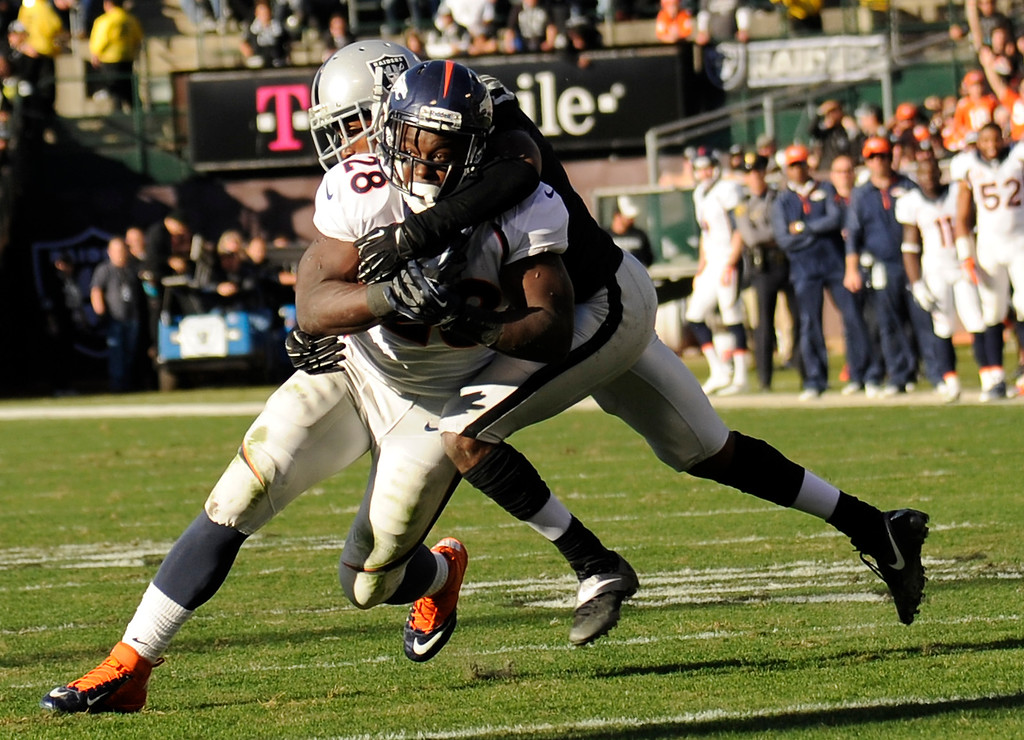 . Running back Montee Ball (28) of the Denver Broncos picks up yardage against the Oakland Raiders at O.co Coliseum December 29, 2013 Oakland, CA. (Photo By Joe Amon/The Denver Post)