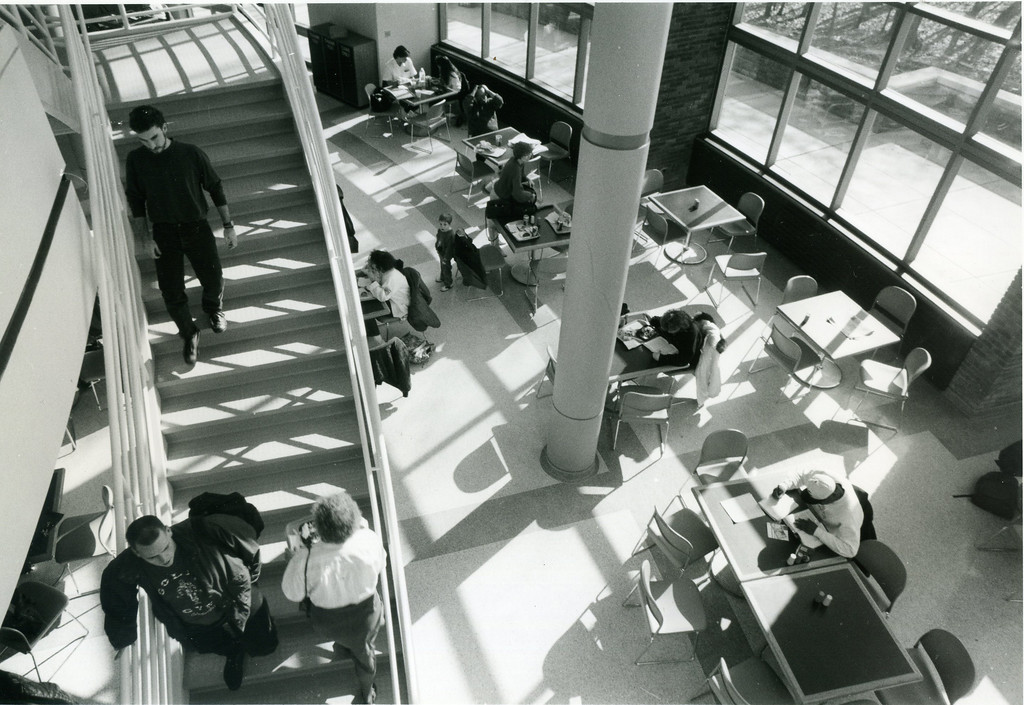 . Students at Lakeland Community College roam about, lunch and study in the new student center on Feb. 4, 1993. (News-Herald file)
