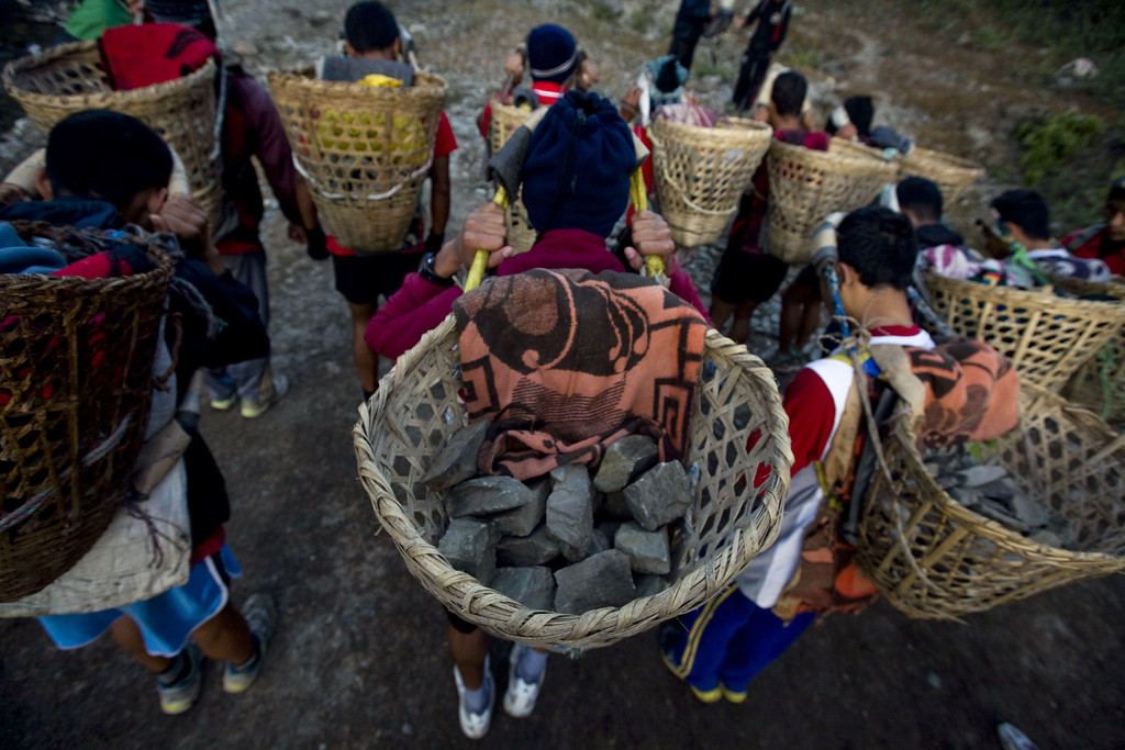 . A view of the heavy baskets locally known as ?Doko? containing 25 kg of stones before the youth start a race as part of their physical training session organized by a private institute in Phokhara, who prepares youth men for the British Gurkha soldier recruitment selection, at Malam Mountain in Kaski district, Nepal, 18 November 2012. The British Gurkha soldier recruitment selection process started on 23 November and runs untill the end of December 2012 at British Gurkha camp situated in Pokhara City, Nepal. Around 125 youths will be selected from more than three thousands participants. Those selected will join the British Army, a selection which carries much prestige and admiration throughout Nepalese society.  EPA/NARENDRA SHRESTHA