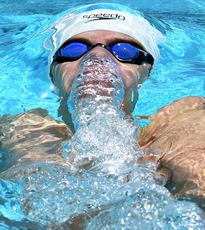 . Damien\'s David Goodfellow competes in the 100 yard backstroke consolation during the Division 2 CIF Southern Section Swimming Championships in the Riverside Aquatics Complex at Riverside City College in Riverside, Calif., on Saturday, May 17, 2014.  (Keith Birmingham/Pasadena Star-News)