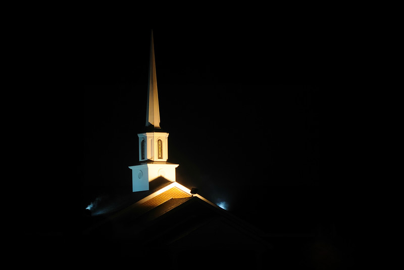 """We live across the street from our church.  It's always nice to come home to see it's well-lit steeple.  It is always a welcoming sight.<br /> <br /> We arrived home late because we had been to Mobile to eat New Year's dinner with our fiends.  Cynthia always makes the best meatloaf and mashed potatoes.  Not only did we enjoy the meatloaf and mashed potatoes, but we also dined on cabbage, black-eyed peas, cornbread, and Key lime pie.  Ummm, delish!  In the South, one always tries to eat ham, black-eyed peas, greens, and cornbread on New Year's day in order to bring good luck in the new year.  The greens represent money, the cornbread gold, and the peas represent humility.  Some of my friends throw a dime into their pot of Hoppin' John for good luck, but I don't go that far.  I have a friend from New York who told me that she always considered peas, beans, and rice """"poor people food.""""  In the South, we consider them staples.<br /> <br /> Field peas have always been widely grown in the South and their type and names vary from place to place--black-eyed peas, cow peas, pink-eyed peas, purple-hull peas, and crowder peas.  The legend, as told by the United Daughters of the Confederacy say that Southerners were a resilient bunch during """"The War.""""  The Yankees came down and destroyed everything--food, buildings, crops, livestock--but they overlooked the cow peas, considering them cattle feed.  From that, Southerners were able to survive, considering themselves lucky.  That is why we eat black-eyed peas on New Year's Day.<br /> <br /> What is your traditional New Year's meal?"""